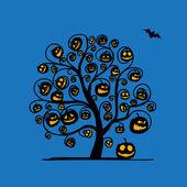 Halloween tree with pumpkins, sketch for your design — Stock Vector