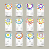 Calendar grid 2015 for your design, floral ornament — Vector de stock