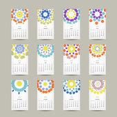Calendar grid 2015 for your design, floral ornament — Stock Vector