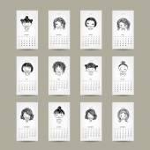 Calendar grid 2015, cute girls design — Stock Vector