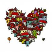 City of love, heart shape sketch for your design — Stock Vector
