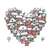 Winter city of love, heart shape sketch for your design — Stock Vector