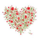 Floral love bouquet for your design, heart shape — Stok Vektör