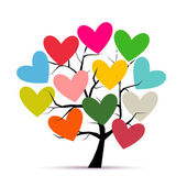 Love tree with hearts for your design — Cтоковый вектор