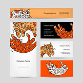 Art cats with floral ornament. Business cards design — Stock Vector