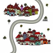 Road and houses, cityscape cartoon for your design — Stock Vector
