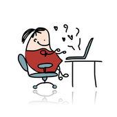 Girl chatting on computer, cartoon for your design — Stockvektor