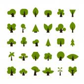 Set of green tree icons for your design — Stock Vector