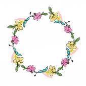 Floral wreath sketch for your design — Vecteur