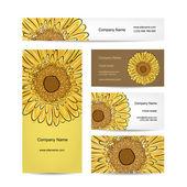 Set of creative business cards, sunflower design — Stock Vector