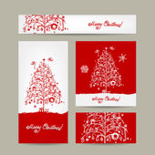 Merry christmas, set of postcards with winter tree — Stock Vector