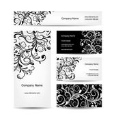 Business cards design, floral ornament — Stock Vector