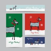 Funny goat santa. Christmas cards design. — Stock Vector