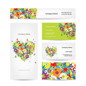 Set of cards, floral heart for your design — 图库矢量图片