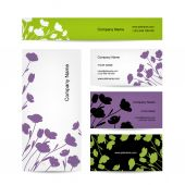 Business cards design, floral bouquet — Stock Vector