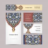 Set of business cards design, turkish ornament — Stock Vector