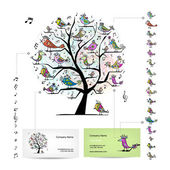 Infographic tree with funny birds. Easy editable for business cards — 图库矢量图片