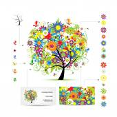 Infographic tree with funny birds. Business card template. — 图库矢量图片
