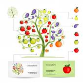 Infographic tree with fruits. Business card template. — Stock Vector