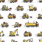 Set of construction equipment, seamless pattern design — Stock Vector