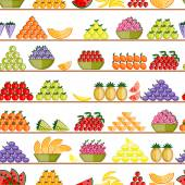 Fruits on shelves, seamless pattern for your design — Stock Vector