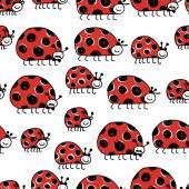 Ladybird family, seamless pattern for your design — Vector de stock