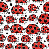 Ladybird family, seamless pattern for your design — Stock Vector