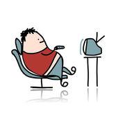Muž odpočinku v křesle a sledování televize — Stock vektor