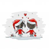 Couple in love together, christmas illustration for your design — Stock Vector