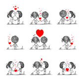 Couple in love together, valentine sketch for your design — Stock Vector
