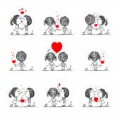 Couple in love together, valentine sketch for your design — Vector de stock