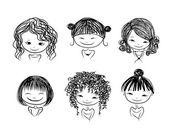 可爱的女孩,微笑着,为你的设计素描 — 图库矢量图片
