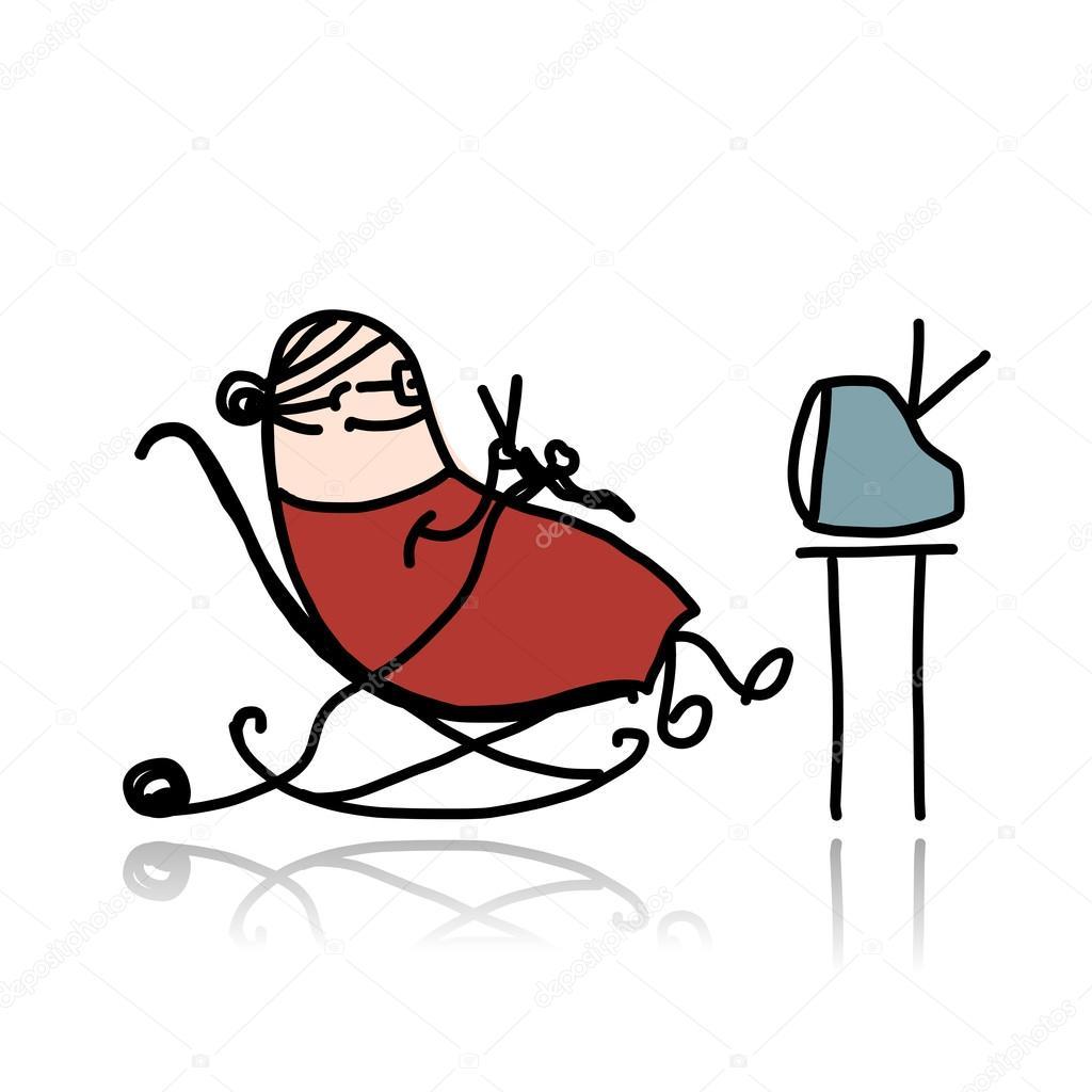 Illustration Cartoon Grandma Sitting In Armchair Pics