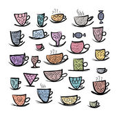 Set of ornate mugs. Sketch for your design — Stock Vector