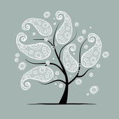 Vintage floral tree for your design — Stock Vector