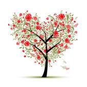 Květinové láska strom pro svůj design, tvar srdce — Stock vektor