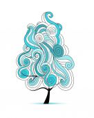 Abstract wavy tree for your design — Stock Vector