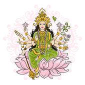 Indian goddess Shakti, sketch for your design — Stock Vector