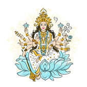 Indian goddess Shakti, sketch for your design — Vettoriale Stock