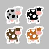 Stickers with funny cow for your design — Vettoriale Stock
