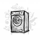 Washing machine, sketch for your design — Stock Vector