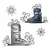 Winter shoes, sketch for your design — 图库矢量图片