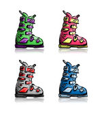 Ski boots set, sketch for your design — Stock Vector
