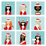 Santa girls, christmas postcards for your design — Stock Vector #59548511