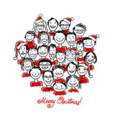 Christmas party with group of people, sketch for your design — Vetor de Stock