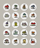 Set of icons with houses for your design — Stock Vector