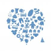Heart shape design with toys for baby boy — Stock Vector