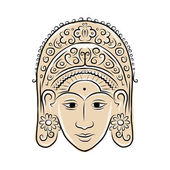 Wooden mask of indonesian dancer woman, sketch for your design — Stock Vector