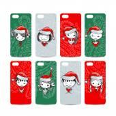 Mobile phone cover back. Santa girls for your design — Stock Vector