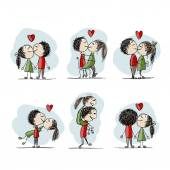 Couple in love kissing, valentine sketch for your design — Stock Vector